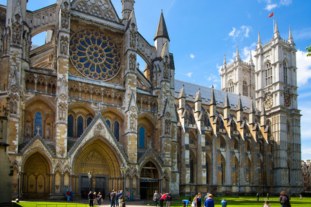 LONDON, UK - MAY 14, 2014  Westminster abbey, view form the park