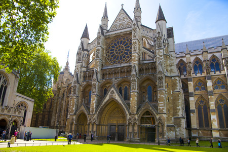 LONDON, UK - MAY 14, 2014  Westminster abbey, view from the park
