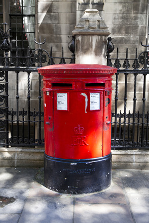 LONDON, UK - MAY 14, 2014  British red post box