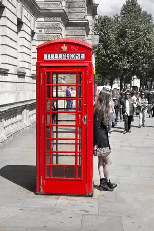 LONDON, UK - MAY 14, 2014  British iconic red telephone box