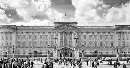 LONDON, UK - MAY 14, 2014  Buckingham Palace the official residence of Queen Elizabeth II and one of the major tourist destinations U K  Entrance and main gate with lanterns