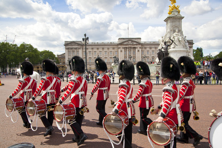 LONDON, UK - MAY 14, 2014  - Members of the Queen s Horse Guard on duty  Horse Guards Parade, London