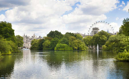 buckingham palace: LONDON, UK - MAY 14, 2014  - St James park, nature island in the middle of busy London,  City of Westminster  and the oldest of the Royal Parks Editorial