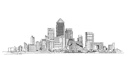 Canary Wharf business aria, London, Sketch collection Vector