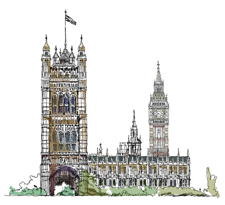 houses of parliament london: Sketch collection, London, Parliament tower in Westminster Illustration