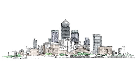 london skyline: Canary Wharf business aria, London, Sketch collection