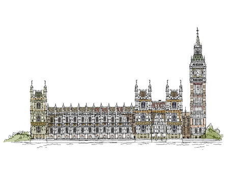 britannia: Big Ben and Houses of Parliament, London UK  Sketch collection