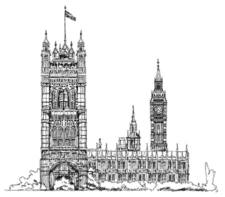 parliament: Sketch collection, London, Parliament tower in Westminster Illustration