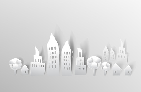 City background with trees made of white paper Vector