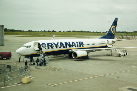 depart: LONDON, STANSTED AIRPORT, UK - MAY 26, 2014  Stansted airport, Ryanair aircraft  getting ready to depart