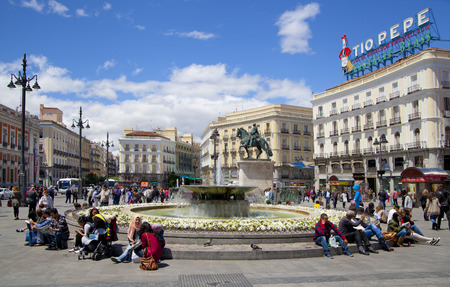 MADRID, SPAIN - MAY 28, 2014  Madrid city centre, Puerta del Sol square one of the famous landmarks of the capital This is the 0 Km point of the radial network of Spanish roads