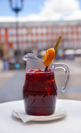MADRID, SPAIN - MAY 28, 2014  Fruit s drink in cafe of Plaza Mayor, Madrid city centre