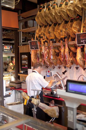 MADRID, SPAIN - MAY 28, 2014   Mercado San Miguel market, famous food market in the centre of Madrid