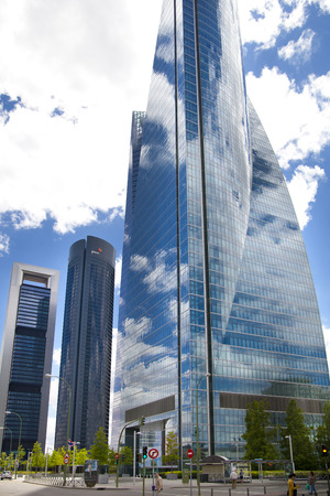 MADRID, SPAIN - MAY 28, 2014  Madrid city business centre, modern skyscrapers ,Cuatro Torres 250 meters high