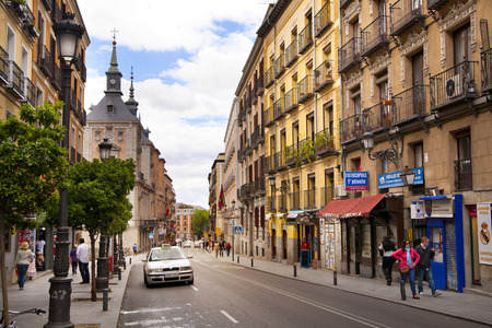 the place is important: MADRID, SPAIN - MAY 28, 2014  City center, old street and  buildings Editorial