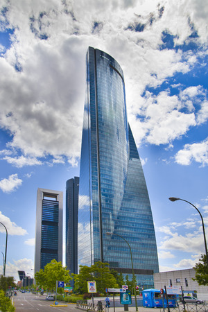 MADRID, SPAIN - MAY 28, 2014  Madrid city,  business centre, modern skyscrapers, Cuatro Torres 250 meters high