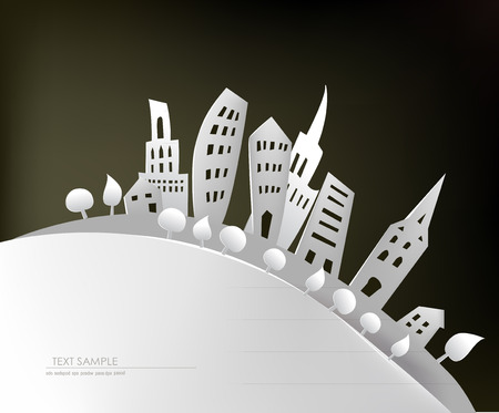 office environment: City on the hill, paper background