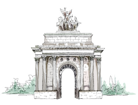 building sketch: Sketch collection, Triumph Arch in London Illustration