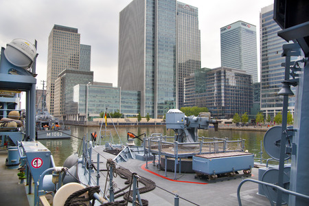 LONDON, UK - MAY 17, 2014  German army military ships based in Canary Wharf aria, to be open for public in educational content