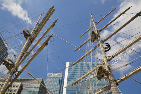 doomed: LONDON, UK - MAY 17, 2014  Old British ship based in Canary Wharf dock  Editorial