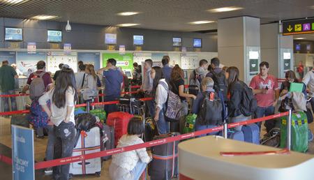 barajas: MADRID, SPAIN - MAY 28, 2014  Interior of Madrid airport, departure waiting aria