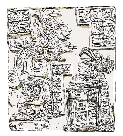mayan prophecy: Maya  relief Lady Wak Tuun, during a blood-letting rite in AD 755,  Illustration