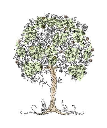Decorative vector tree with flowers  Vector