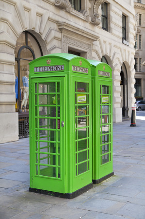 British telephone box in green  Bank of England  photo