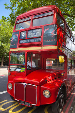 LONDON, UK - JUNE 3, 2014  Mayfair, famous red double English bus
