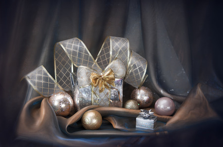 silver balls: Christmas background with silver balls and present