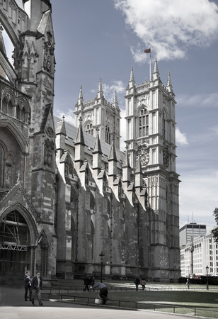 LONDON, UK - AUGUST 1, 2014  Westminster abbey, view form the park