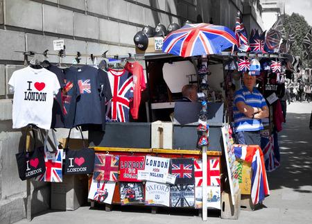 LONDON, UK - JUNE 24, 2014  souvenirs business on the London s street
