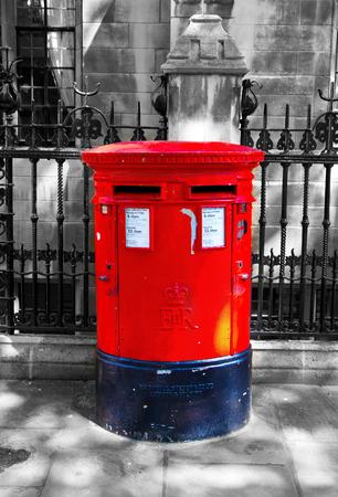 LONDON, UK - MAY 14, 2014  British red post box
