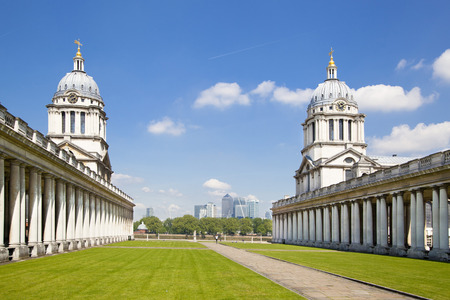 greenwich: LONDON UK - JULY 28, 2014  Old English park south of London, Royal chapel and classic architecture