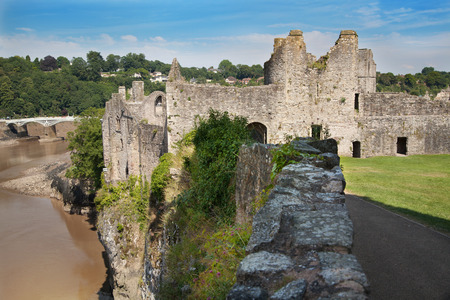 CHEPSTOW CASTEL, WALES, UK - 26 JULY 2014  Chepstow castle  ruins, Foundation, 1067-1188  Situated on bank of the River Wye photo