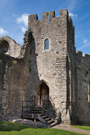 CHEPSTOW CASTLE, WALES, UK - 26 JULY 2014  Chepstow castel ruins, Foundation, 1067-1188  Situated on bank of the River Wye