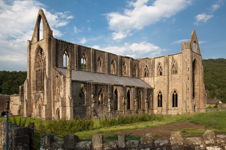 abbey ruins abbey: WALES, UK - 26 JULY 2014  Tintern abbey cathedral ruins  Editorial
