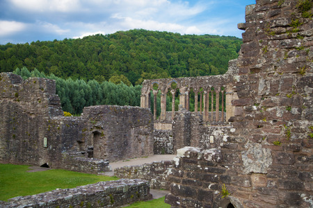 viii: Tintern abbey cathedral ruins  Abbey was established at 1131  Destroyed by Henry VIII  Famous as Welsh ruins from 17the century  Stock Photo