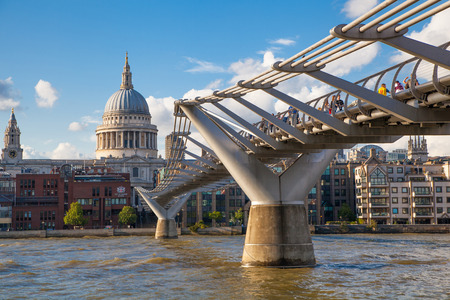 st  paul   s cathedral: LONDON, UK - AUGUST 9, 2014  South bank walk of the river Thames  St  Paul s cathedral