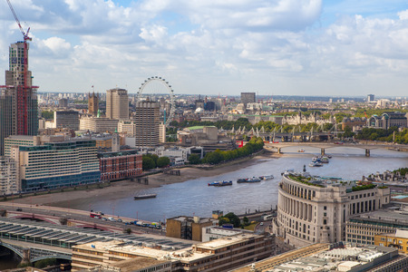 LONDON, UK - AUGUST 9, 2014 London skyline  London eye, Westminster and London bridge