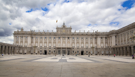 MADRID, SPAIN - MAY 28, 2014  The Royal Palace of Madrid is the official residence of the Spanish Royal Family at the city of Madrid