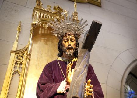 MADRID, SPAIN - MAY 28, 2014  Golden altar in Santa Maria la Real de La Almudena cathedral, Madrid, Spain