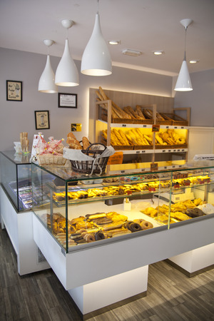 MADRID, SPAIN - MAY 28, 2014  Local coffee shop and variety of baked products