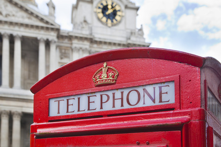 st  paul   s cathedral: LONDON, UK - JULY 6, 2014   Red phone box and St  Paul s cathedral