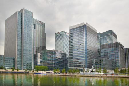 greenwich: LONDON UK - JULY 28, 2014  View on business district Canary Wharf