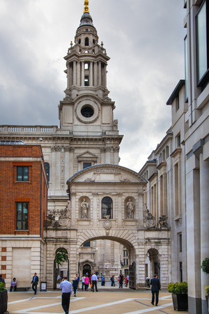 st  paul   s cathedral: LONDON, UK - JULY 6, 2014  Business square next to St  Paul s cathedral with modern monumental installation
