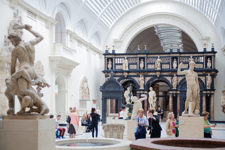 LONDON, UK - AUGUST 24, 2014: People visiting Victoria and Albert Museum. V&A Museum is the world\\