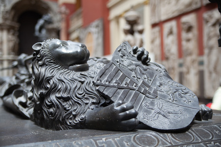 Lion, sculptures and reliefs in Victoria and Albert museum