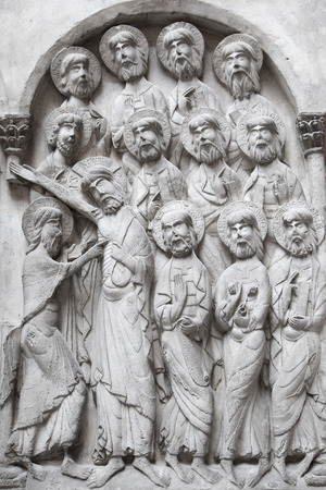LONDON, UK - AUGUST 24, 2014: Religion sculptures and reliefs in Victoria and Albert Museum. V&A Museum is the world\