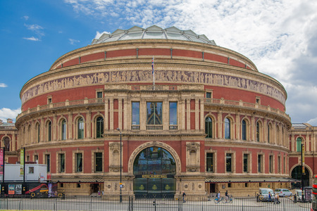 royal park: LONDON, UK - AUGUST 16, 2014: Prince Albert Hall in front of  Hyde park